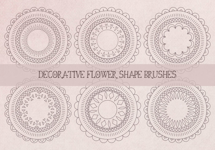 Decorative Abstract Flower Shape Brushes