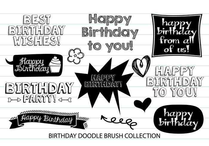Aniversário Doodle Brushes