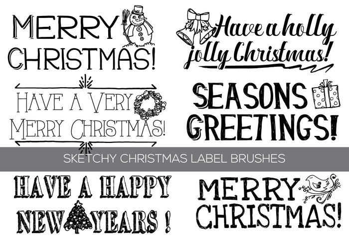 Hand Drawn Christmas Text Label Brushes