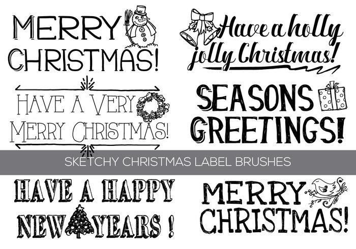 Hand gezeichnetes Weihnachten Text Etikettenbürsten