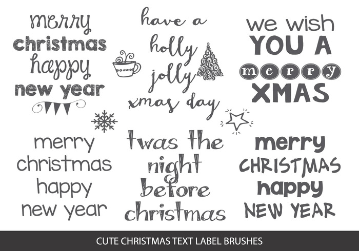 Sketchy Christmas Text Label Brushes