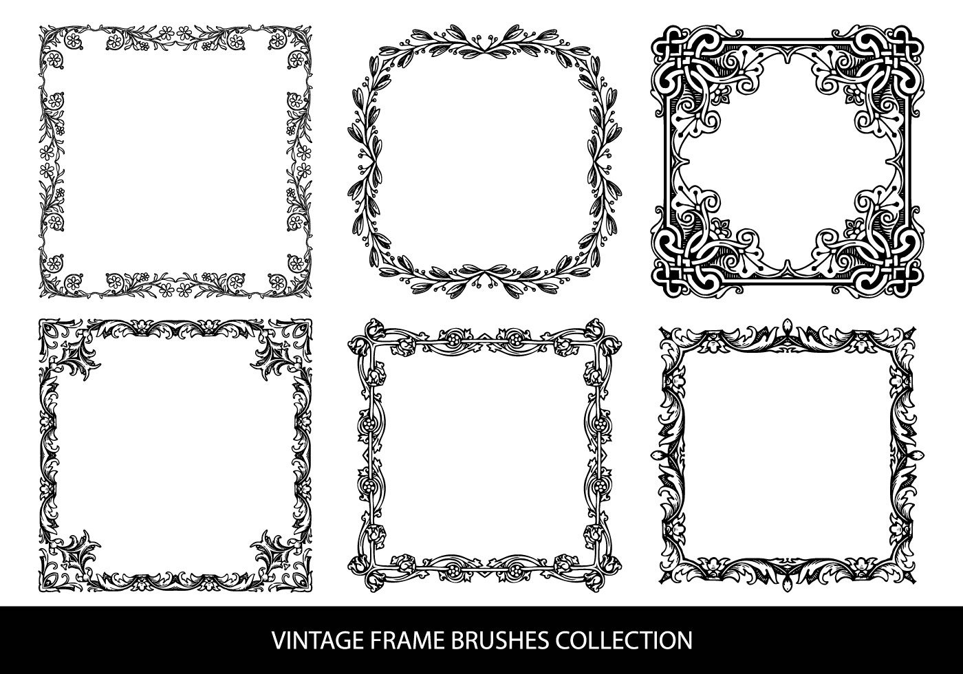 Different Photoshop Frame Brushes are available