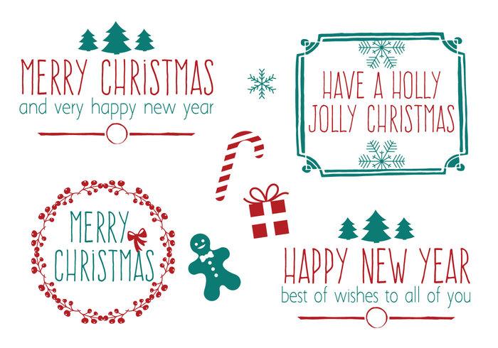 Hand gezeichneter Art-Weihnachtsbürsten-Satz