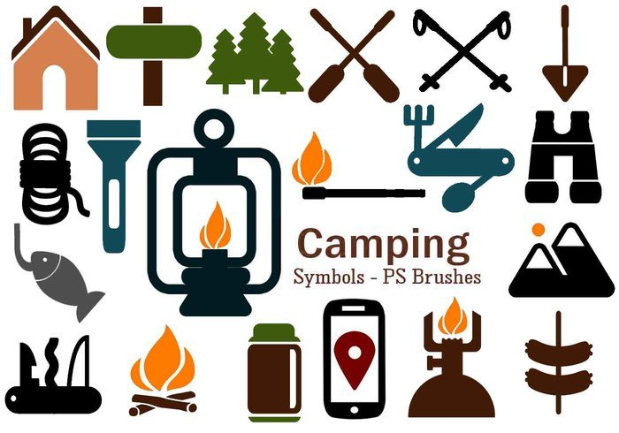 20 Camping Symbol PS Brushes abr. Vol.7