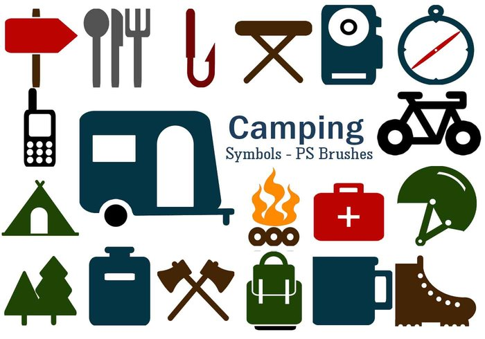 20 Camping Symbol PS Brushes abr. Vol.6