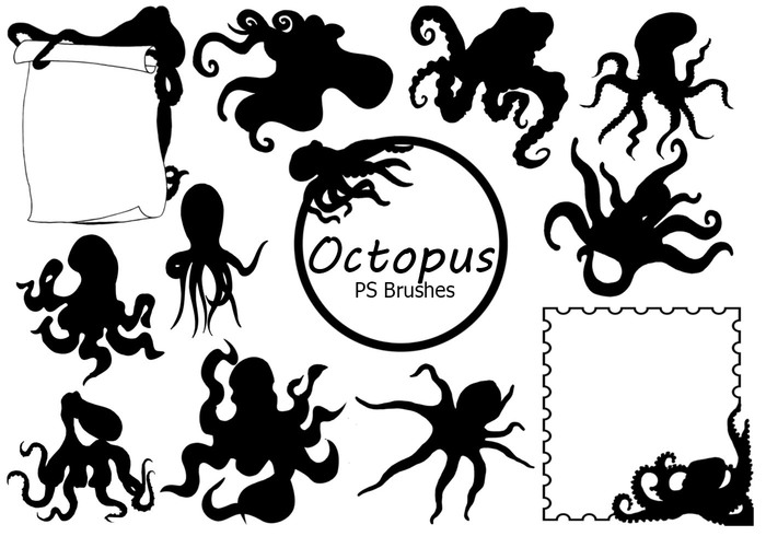 20 Octopus Silhouette PS Brushes abr.Vol.4
