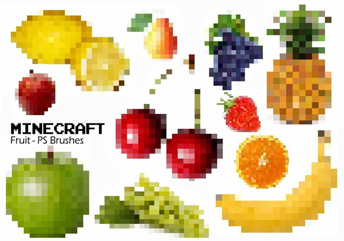 20 Minecraft Fruit PS Brushes abr. Vol.4
