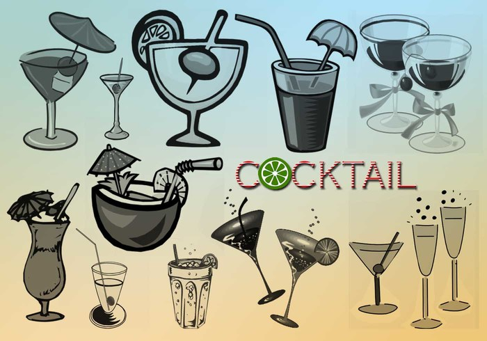 20 Cocktail Vector Brushes