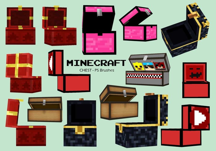 20 Minecraft Chest PS Brushes abr. Vol.11