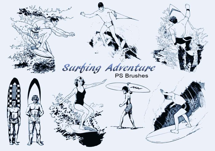 20 Surfing Adventure PS Brushes abr. Vol.5