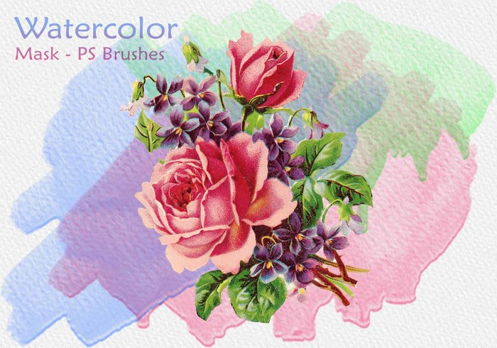 20 Watercolor Mask PS Brushes abr.Vol.10