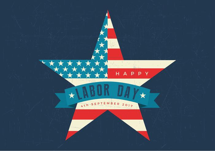 Happy Labor Day Amerikanska flaggstjärnan Retro PSD Wallpaper
