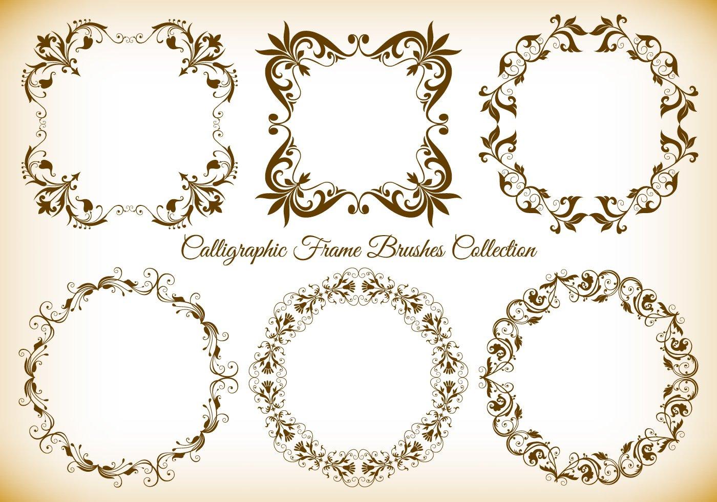 Calligraphic frame brushes free photoshop at