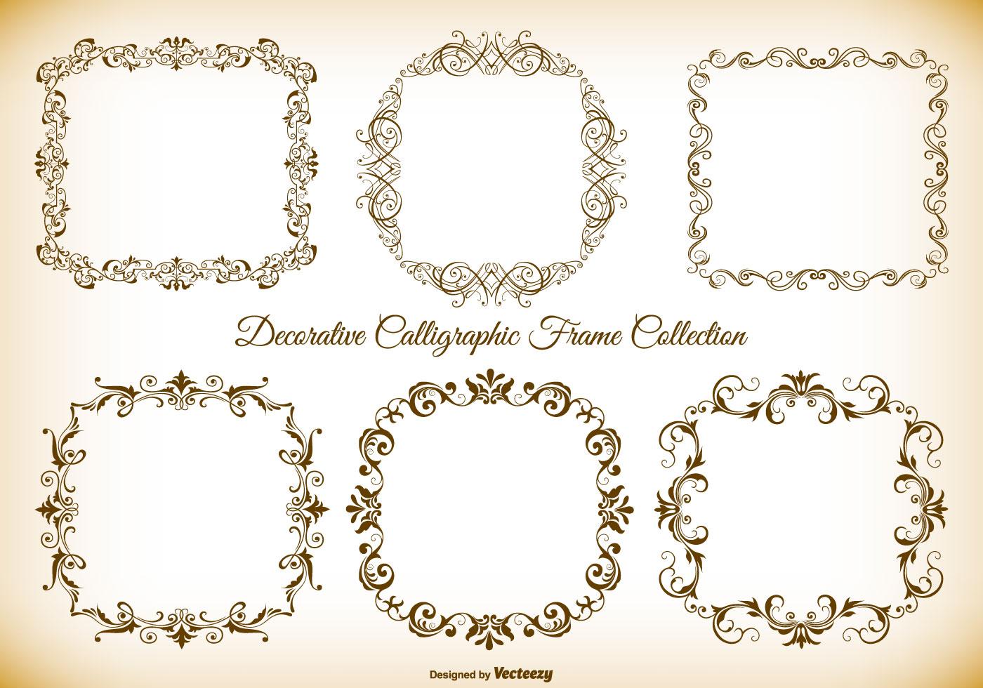Calligraphic style frame brushes free photoshop