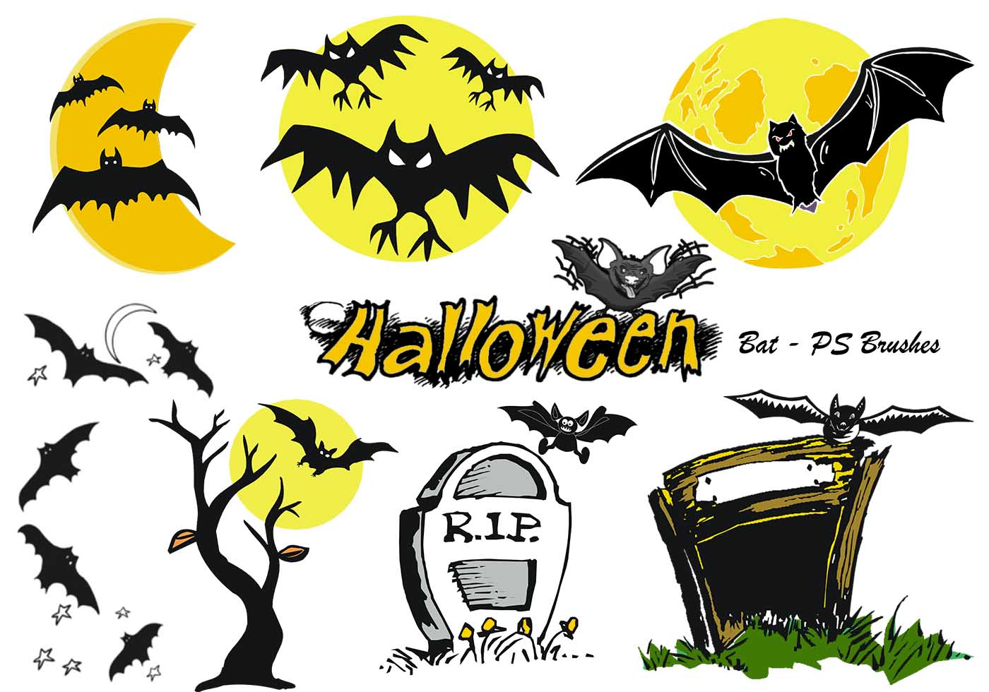 20 halloween bat ps brushes abr vol 7 free photoshop brushes at