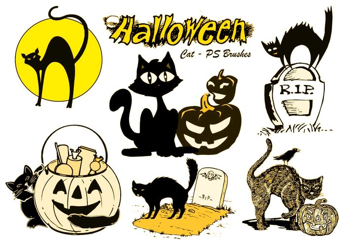 20 Halloween Cat PS Brushes abr.Vol.8