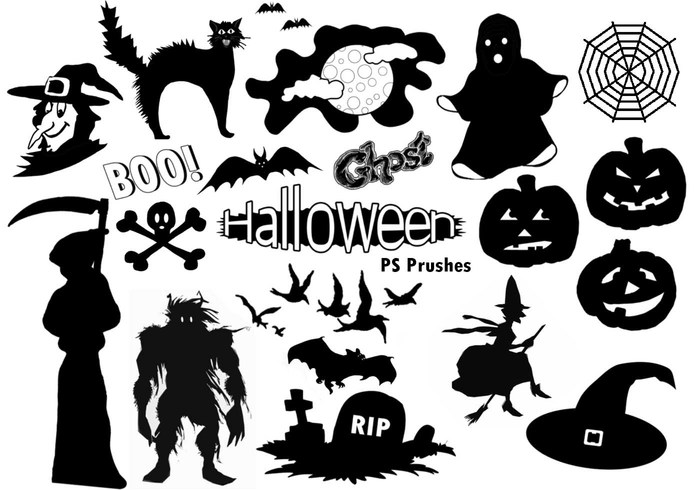 20 Halloween Silhouette PS Pinceles abr.Vol.10