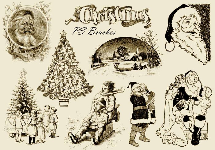 20 Vintage Christmas PS Brushes abr. Vol.10