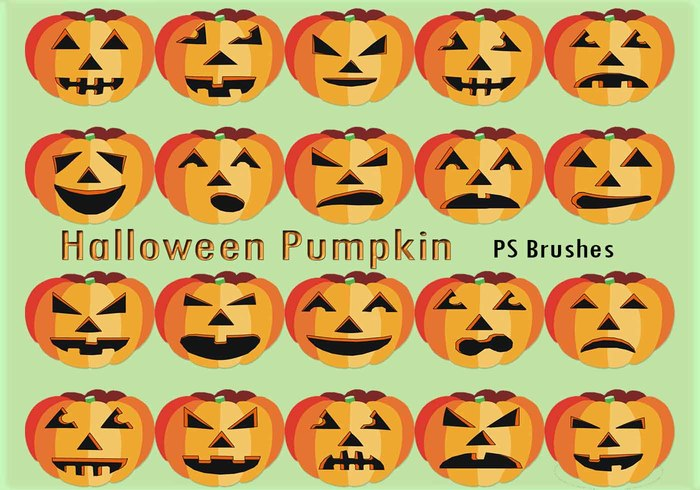 20 Halloween Pumpkin PS Brushes abr.Vol.9
