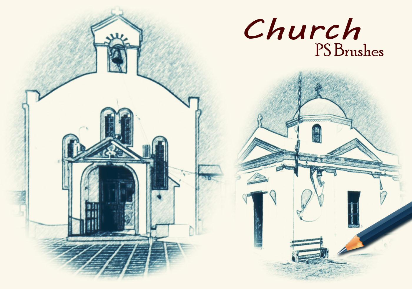 20 Sketch Kirche PS Bürsten abr. Vol - Kostenlose Photoshop-Pinsel ...