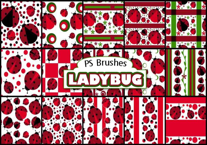 20 Ladybug Background PS Brushes abr.Vol.3