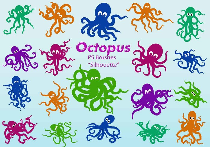 20 Octopus Silhouette PS Brushes abr.Vol.6