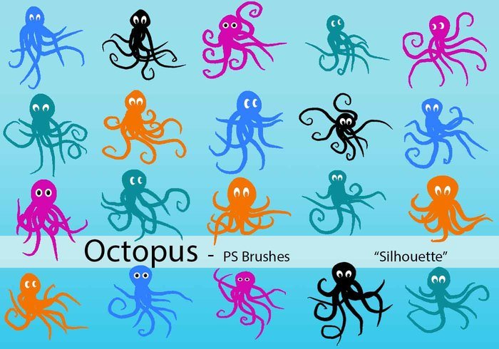 20 Octopus Silhouette PS Pinceles abr.Vol.5