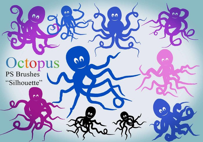 20 Octopus Silhouette PS Pinceles abr.Vol.8