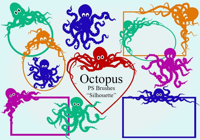 20 Octopus Silhouette PS Bürsten abr.Vol.7
