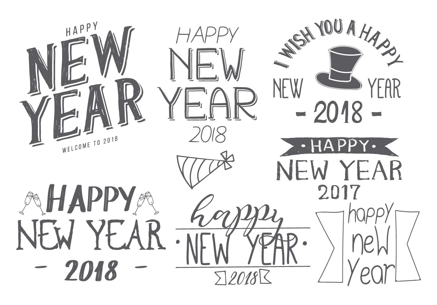 handgetekende nieuwjaar 2018 borstel collectie gratis
