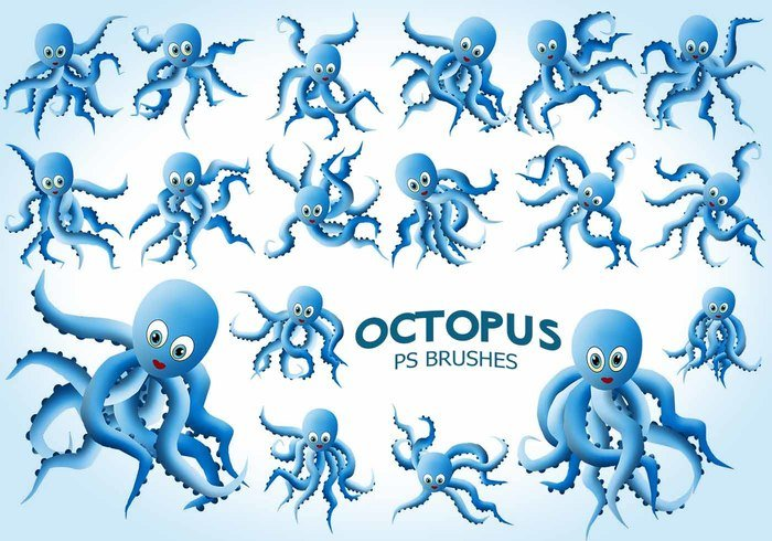 20 Cute Octopus PS Brushes abr.Vol.9
