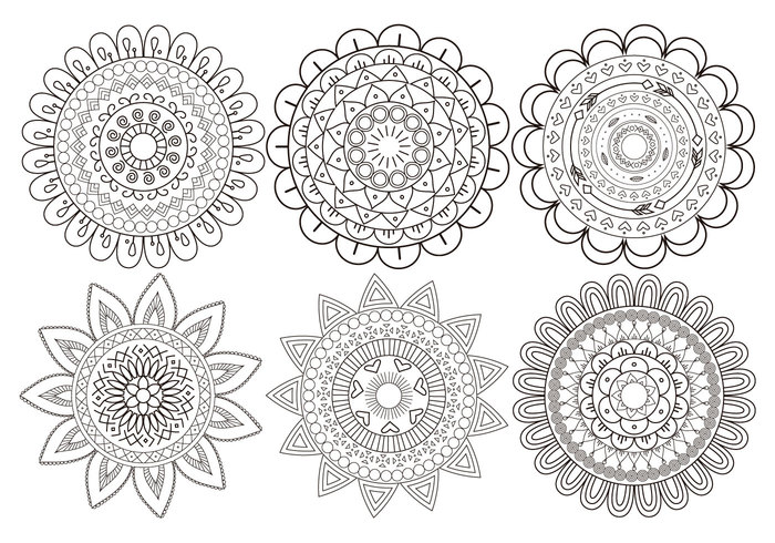 Cute Mandala Flower Brush Collection