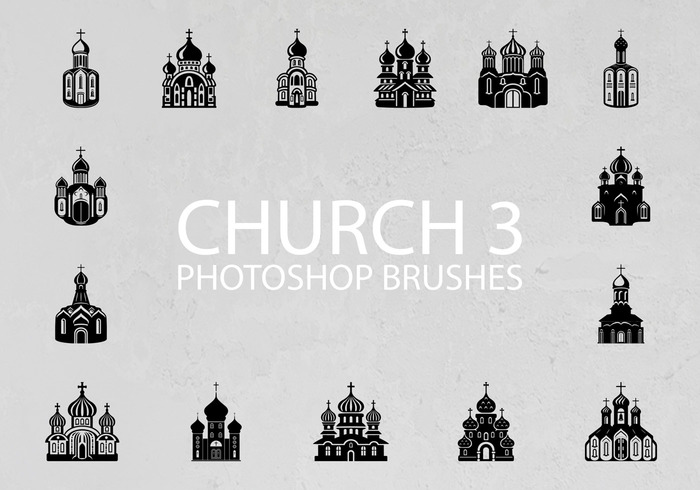Free Church Silhouette Photoshop Brushes 3