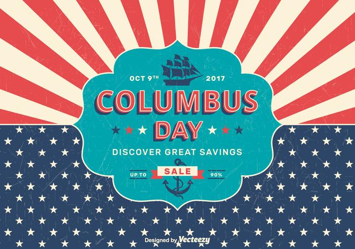 Columbus Day Sale Retro PSD Poster