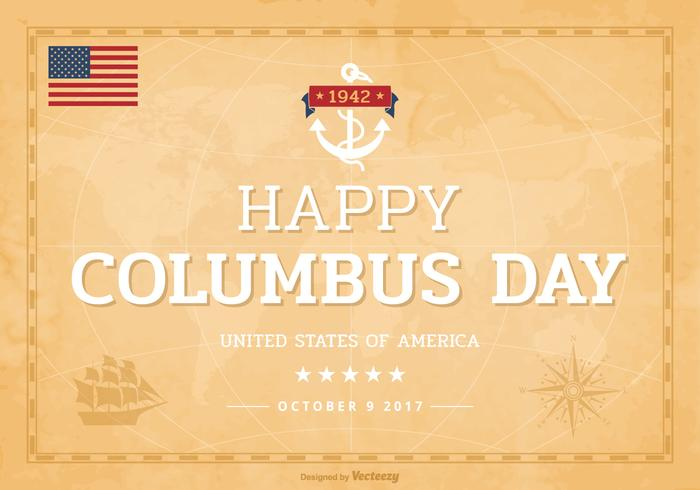 Gelukkige Columbus Day Lettering On Old World Map PSD