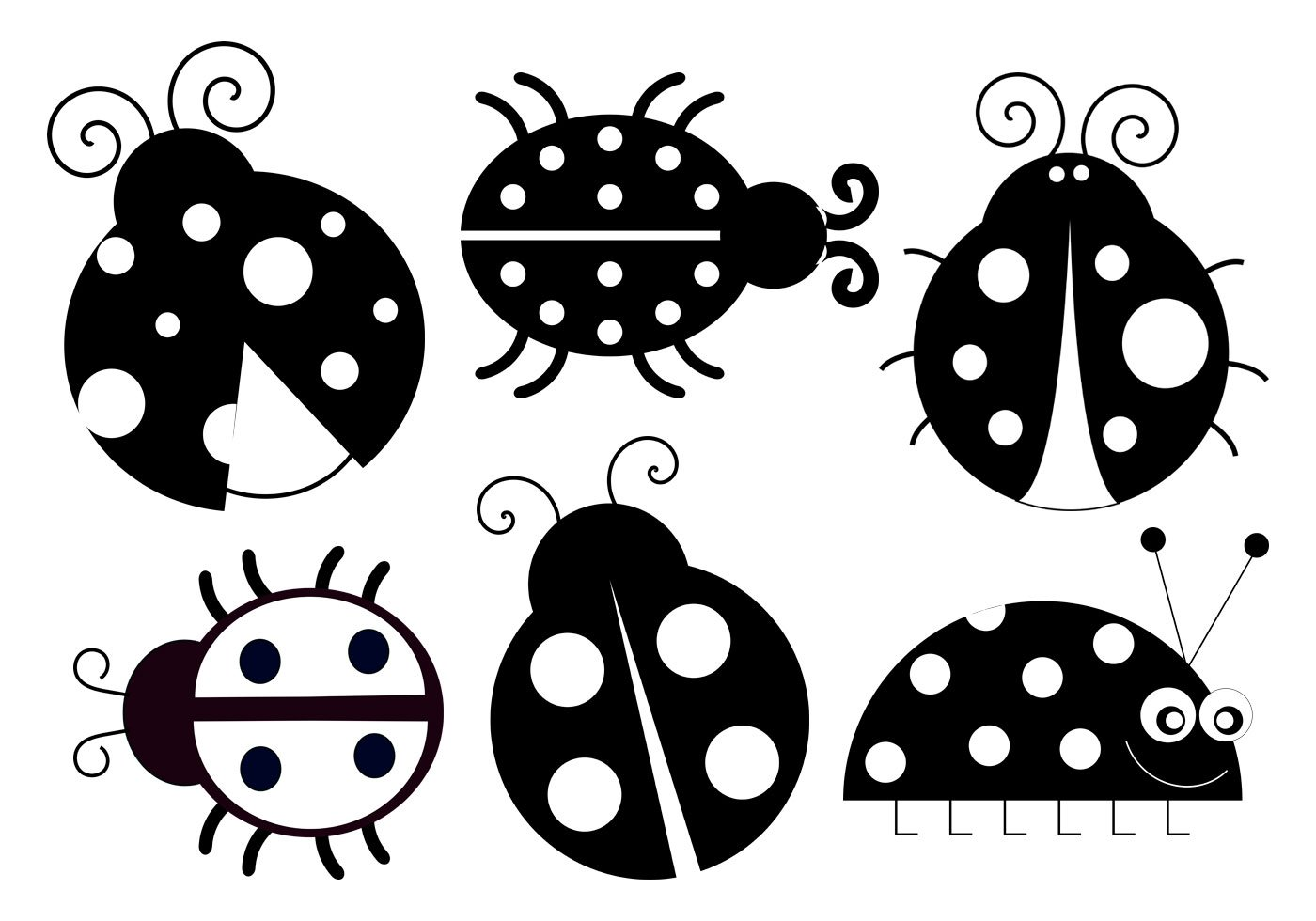 Cute Ladybug Brushes Collection Clipart Bugs