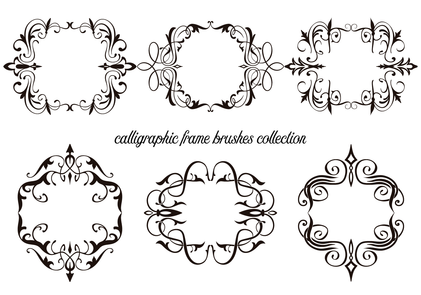 Calligraphic frame brushes collection free photoshop