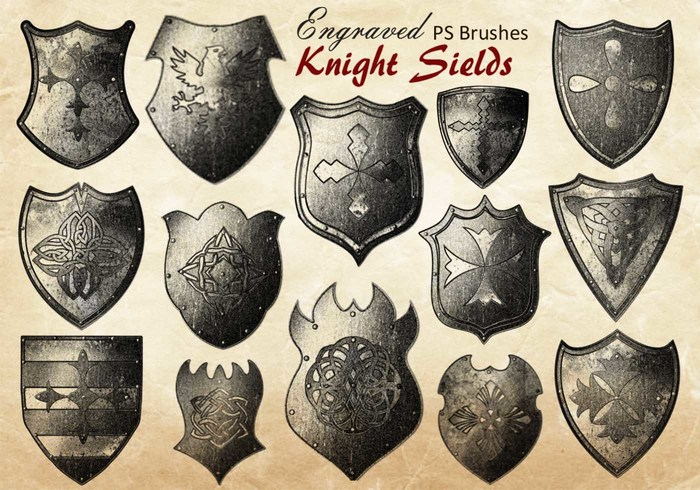 20 Engraved Knight Sield PS Brushes abr.vol.9