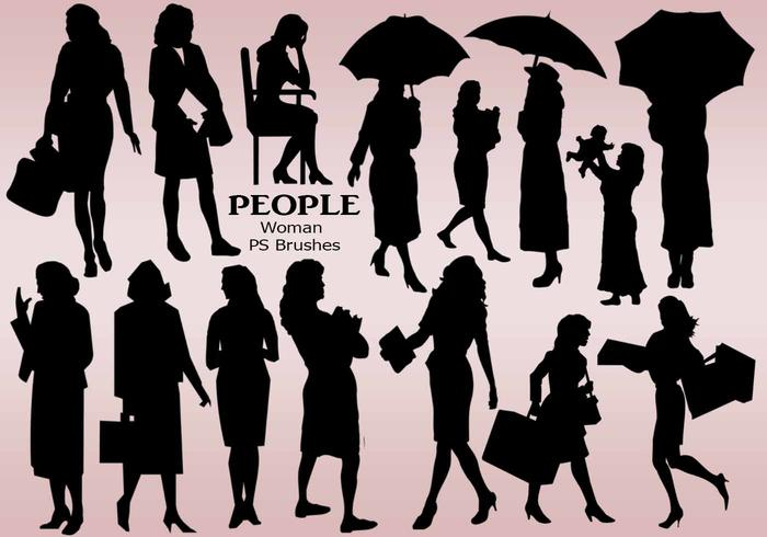 20 People Woman Silhouette PS Brushes vol.11