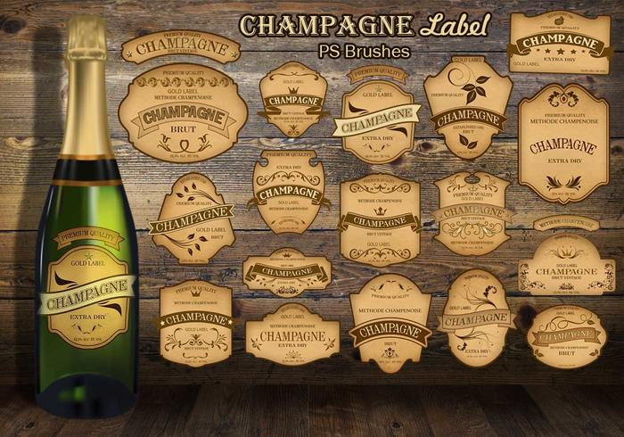20 Champagner Vintage Label PS Bürsten abr.vol.8