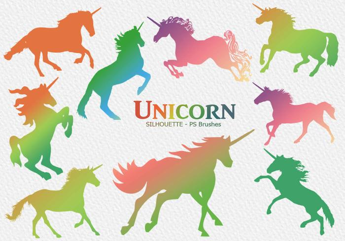 20 Unicorn Silhouette PS Brushes abr. Vol.4