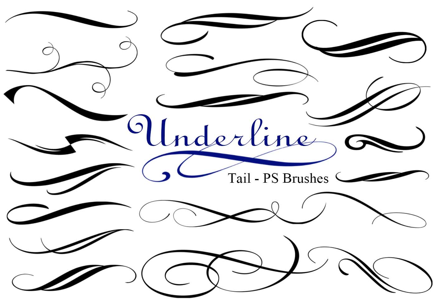 Underline tail ps brushes abr vol free photoshop