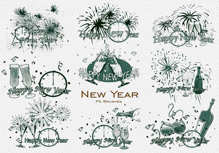 20 New Year PS Brushes abr. Vol.8