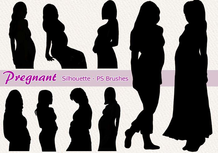 20 Pregnant Silhouette PS Brushes abr.Vol.6