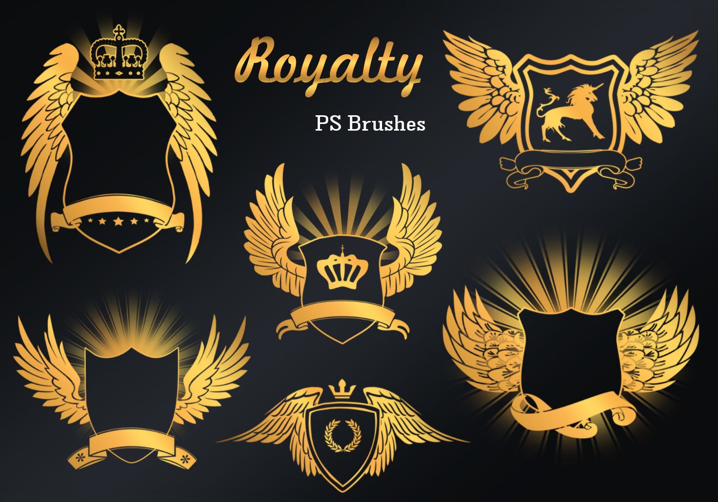 20 Royalty Emblem Ps Brushes Abr Vol9 Free Photoshop