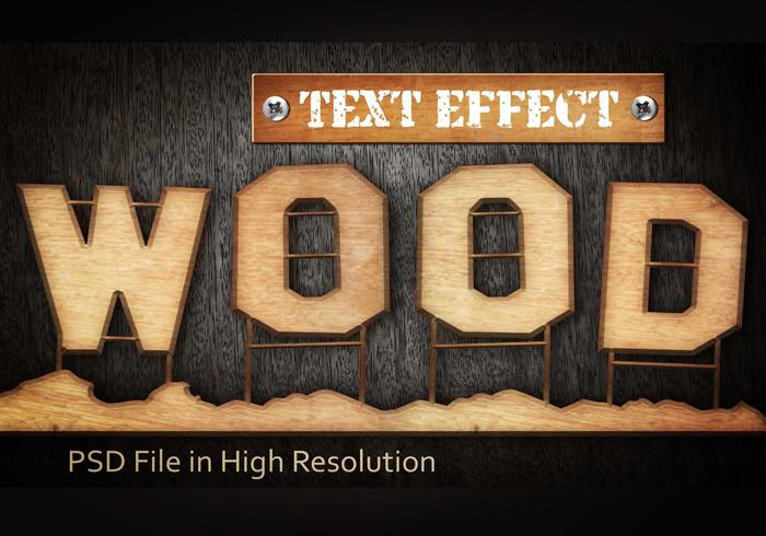 Wood Text Effect PSD Vol.1