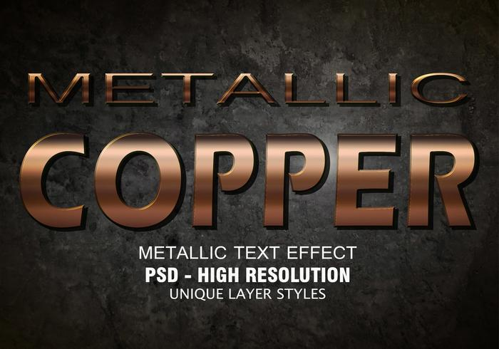 Koppar Metallic Text Effect PSD Vol.2