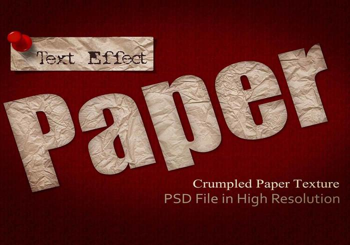 Crumpled Paper Text Effect PSD Vol.1