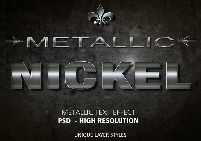 Nickel Metallic Text Effekt PSD Vol.3