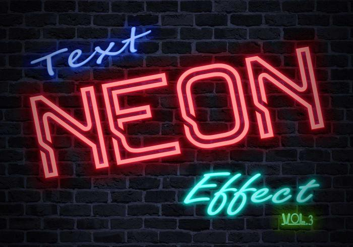 Neon Tekst Effect PSD Vol.3